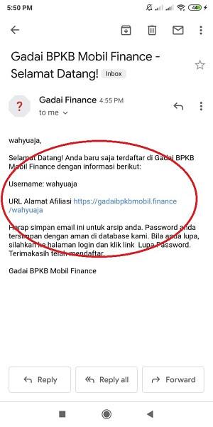 email notifikasi setelah register jadi member afiliasi